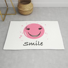 Pink cute smily face design Rug
