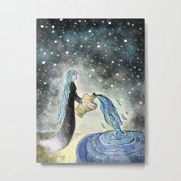 Aquarius Girl Amongst the Stars - Astrological Drawing Metal Print