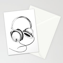Headphones. Sketch style, black and white print. Stationery Cards