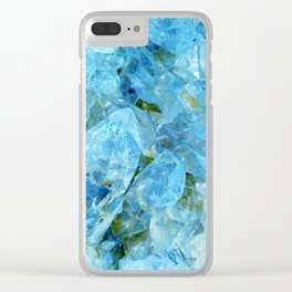 Blue Crystal Geode Art Clear iPhone Case