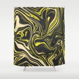 Liquid Marble Golden Texture Shower Curtain