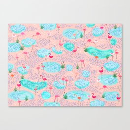 Flamingo lake-pink Canvas Print