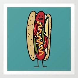 Chicago Style Hot Dog poppy seed bun red hot Art Print