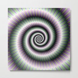 Coiled Spiral in Green and Violet Metal Print