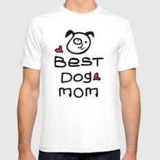 Best dog mom SMALL Mens Fitted Tee White