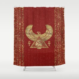 Eye of Horus - Wadjet Gold on Red Leather Shower Curtain