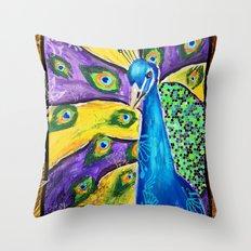 Gilded Peacock Throw Pillow