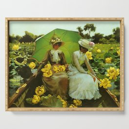 Spectacular 'Yellow Lotus Lilies' Floral Lily Pond portrait painting Charles Courtney Curran Serving Tray