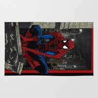 spider man Area & Throw Rugs featuring Spider-Man by Shawn Norton Art