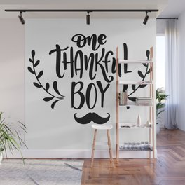 One Thankful Boy Thanksgiving Wall Mural