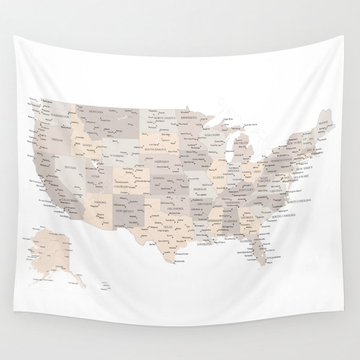 Brown USA map with states and cities Wall Tapestry by blursbyaishop