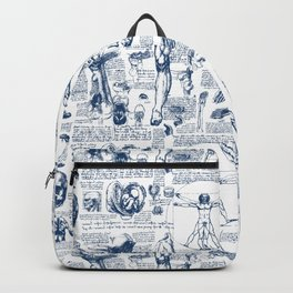 Da Vinci's Anatomy Sketchbook // Dark Blue Backpack