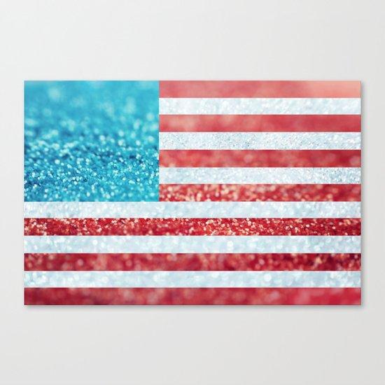 Red, White, and Glitter (Photo of Glitter) Canvas Print