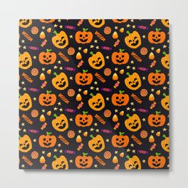 Happy halloween pumpkin, candies and lollipops pattern Metal Print