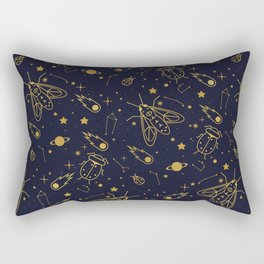 Golden Celestial Bugs Rectangular Pillow