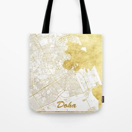 Doha Map Gold Tote Bag