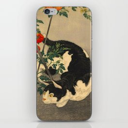 Shotei Takahashi Black & White Cat Tomato Garden Japanese Woodblock Print iPhone Skin