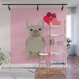 French Bulldog love hearts balloons frenchies tan dog breed gifts Wall Mural