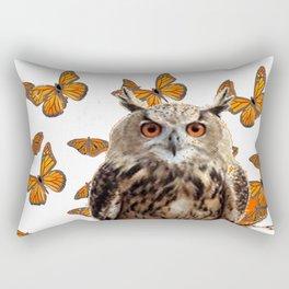 ORANGE BUTTERFLIES OWL IN TREE WHITE ART DESIGN ART Rectangular Pillow