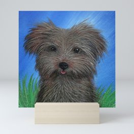 Scruffy Yorkie Dog Portrait Mini Art Print