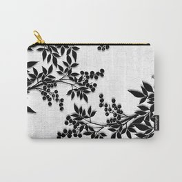 Black and White Leaf Toile Carry-All Pouch