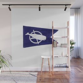 Nantucket Blue and White Sperm Whale Burgee Flag Hand-Painted Wall Mural