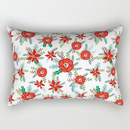 Floral christmas painted florals flower decor seasonal holidays red green and white Rectangular Pillow