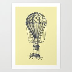 Discovery (grey on yellow) Art Print