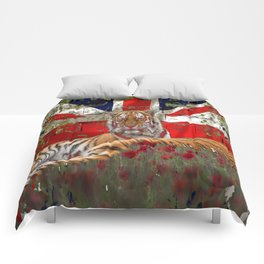 Tiger and union jack wall Comforters