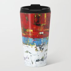 Folly Bright Red White Modern Art Abstract Painting Metal Travel Mug