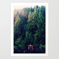 Red in Woods Art Print