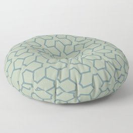 Blue-Green Line Pattern 12 Abstract Flower 2 2021 Color of the Year Aegean Teal and Salisbury Green Floor Pillow