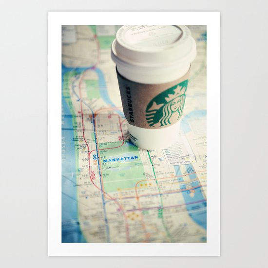 Manhattan and Starbucks Art Print