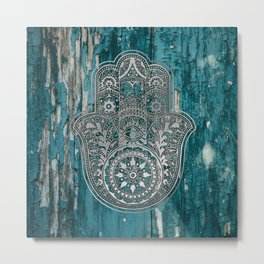 Silver Hamsa Hand On Turquoise Wood Metal Print