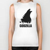 godzilla Biker Tanks featuring Godzilla by Nick Kemp
