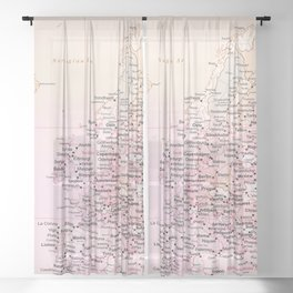 Rose Word Map Europe Sheer Curtain