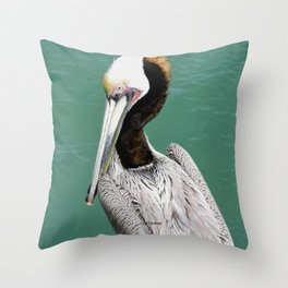 Brown Pelican Upstanding Throw Pillow