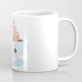 Cute blue Kawai cup, coffee with pink cheeks and winking eyes Coffee Mug