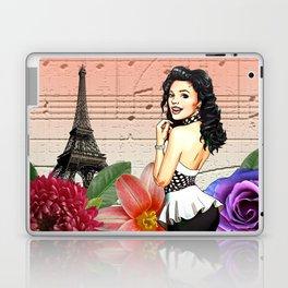 Retro Pinup Girl Flowers & Music in Paris Laptop & iPad Skin