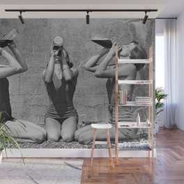 What the girls drink when the guys aren't looking - three girlfriends drinking at the beach black and white photograph Wall Mural