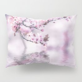 Zen Style Cherry Blossom and Water Pillow Sham