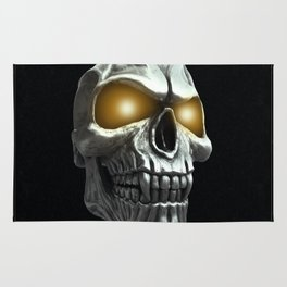 Skull with glowing yellow eyes Rug