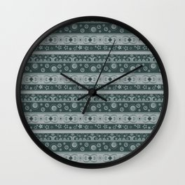 Grey ornament , stripes Wall Clock