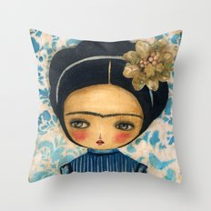 Frida In A Blue And Cream Dress Throw Pillow