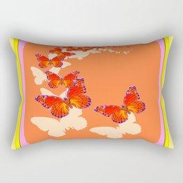 Monarch Butterflies Migration in Cumin Color & Yellow Art Rectangular Pillow