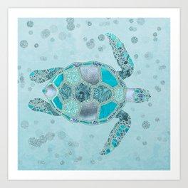 Glamour Aqua Turquoise Turtle Underwater Scenery Art Print