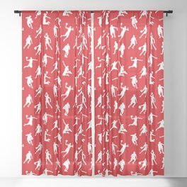 Basketball Players // Red Sheer Curtain