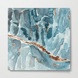 Blue Apatite Crystal Watercolor Metal Print