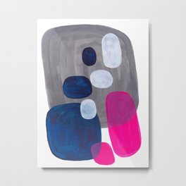 Mid Century Modern Minimalist Colorful Pop Art Grey Navy Blue Neon Pink Color Blobs Ovals Metal Print
