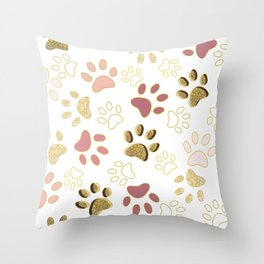 Rose Gold Colored Shining Paw Prints Throw Pillow